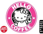 Hello Kitty SVG Starbucks coffee svg , clipart cut file cricut , layered by color