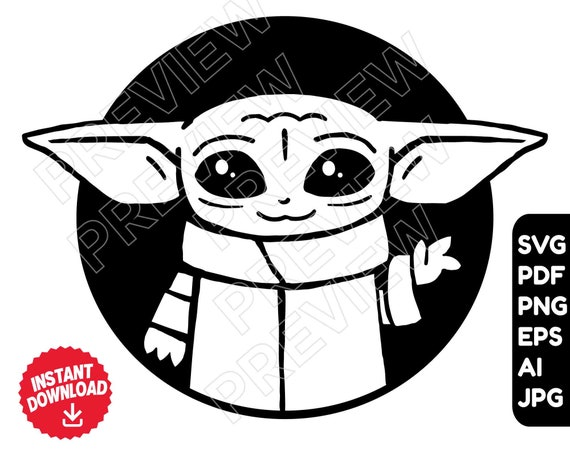 Baby Yoda Svg Png Vector Cut File Clipart Disney Svg Star Etsy