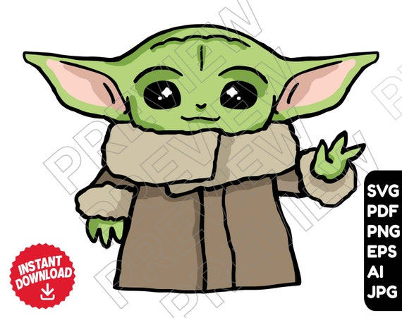 Baby Yoda Svg Clipart Vector File Star Wars The Etsy