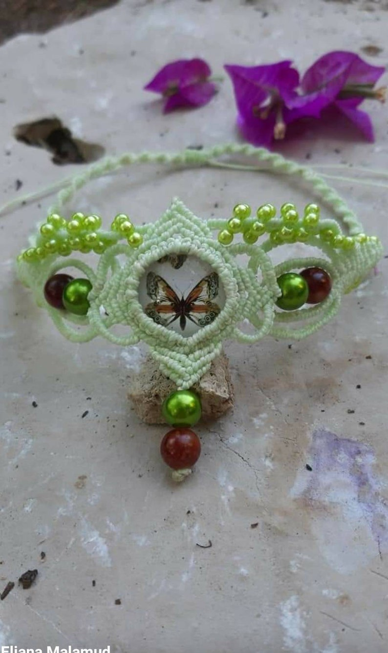 women jewelry green color necklace. macrame choker Macrame choker Forest Butterfly butterfly cabochon