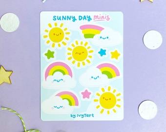 MINI Sunny Day Sticker Sheet - Cute Rainbow Stickers -  Bullet Journal Stickers - Journal Stickers - Planner Stickers - Bujo Sticker