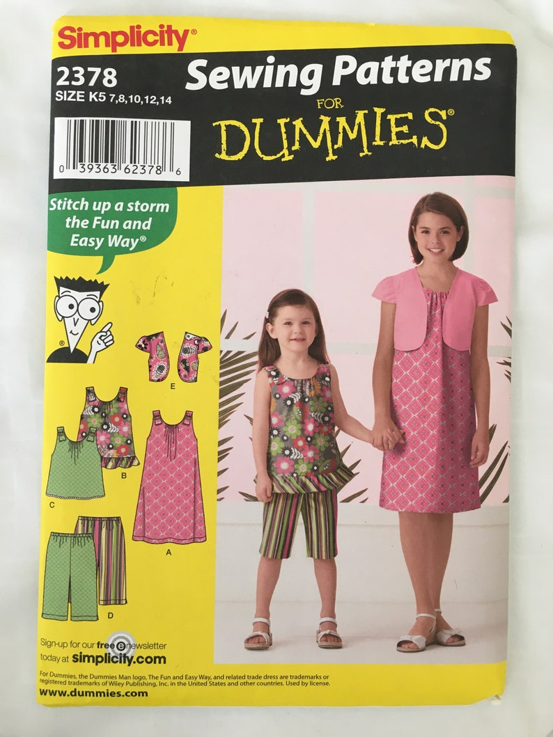 Simplicity Sewing Patterns for Dummies 2378 size K5 7-14