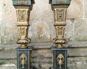 Antique Neoclassical Bronze and Marble Columns, Set of 2