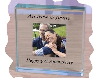30th Wedding Anniversary Photo Glass Paperweight personalised gift