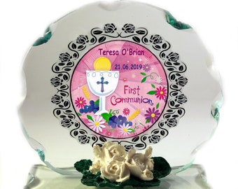 1st Holy Communion  personalised gift for Girl Cut Glass  Plaque keepsake