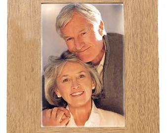 50th Golden Wedding Anniversary Personalised Gift beautiful 7 x 5 Oak Finish engraved photo frame portrait