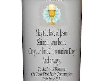 """1st Holy Communion Candle personalised gift  Large 6"""" Christian Catholic keepsake"""