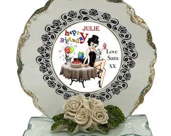 Happy Birthday  Personalised Gift  Betty Boop  Cut Glass  Plaque