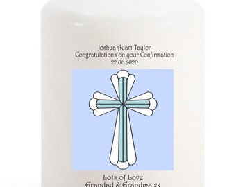 Confirmation Candle personalised gift Blue cross for Boy
