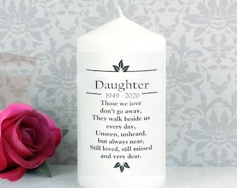 Daughter Personalised Memorial  Candle funeral  Poem Verse Remembrance keepsake