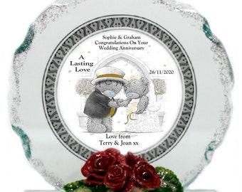Wedding Anniversary Personalised gift Teddy's  Cut Glass  Plaque keepsake