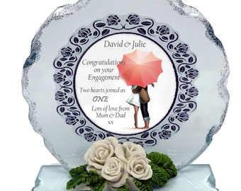 """Engagement   personalised gift  Large 6""""  To the happy couple  Cut Glass Plaque keepsake"""