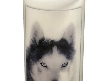 """Siberian Husky Dog Handmade Candle large 6"""" Collectable gift for the Husky lover"""