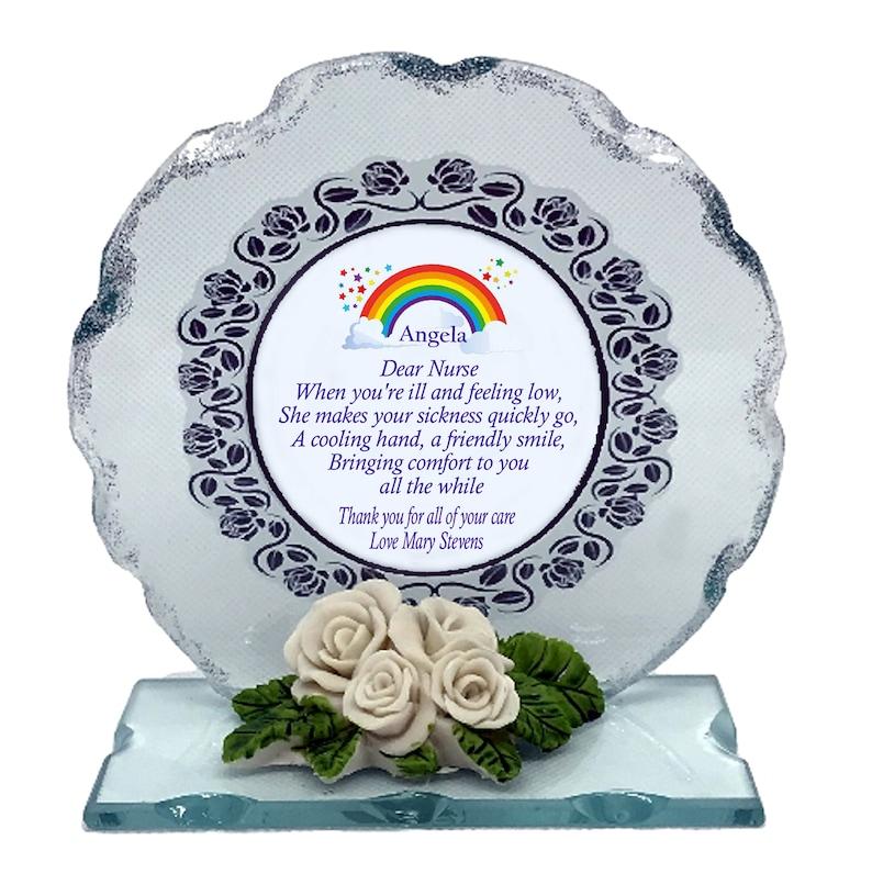 Nurse Personalised Gift rainbow Cut Glass Poem Plaque keepsake image 0