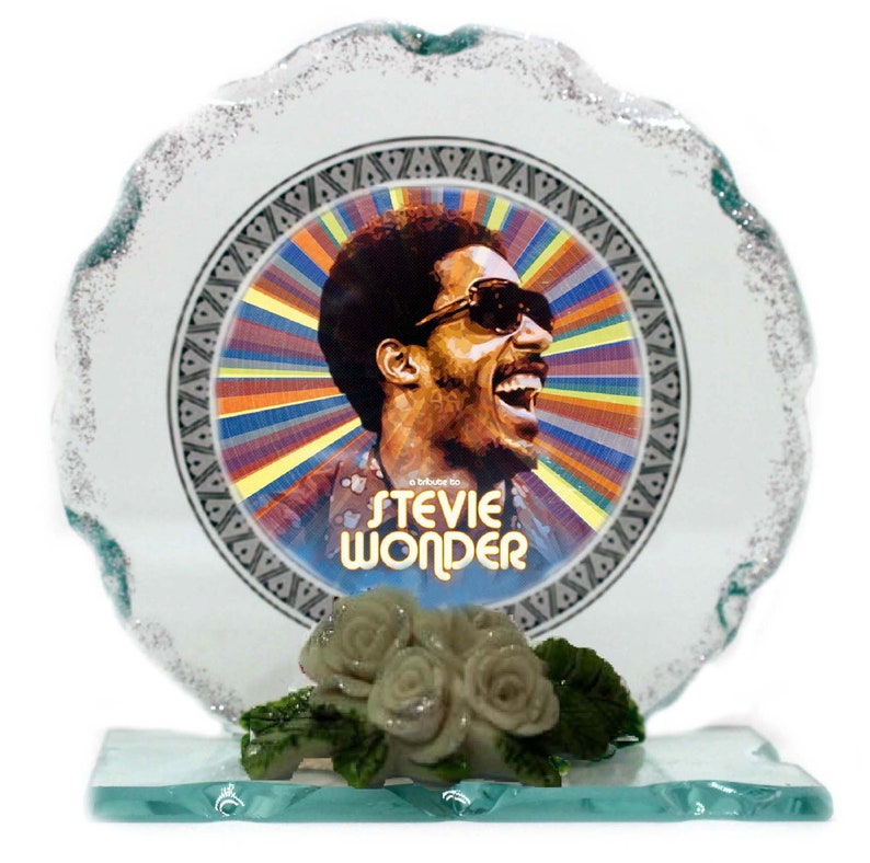Stevie Wonder Cut Glass Photo Plaque EditionCollectable image 0