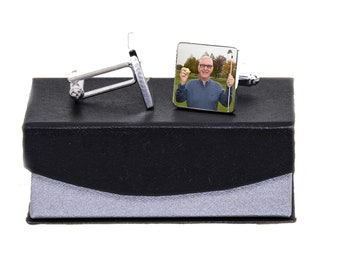 """Photo cufflinks personalised Gift """"Hole in one""""  present Golf Lover Birthday, Fathers day, Christmas for him"""