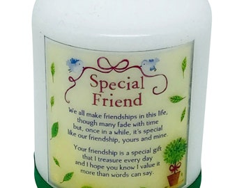 Friendship Candle Personalised gift Poem Special Friend Any Occasion