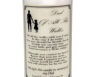 Father of the Bride  Personalised Wedding Memorial Absence Poem candle
