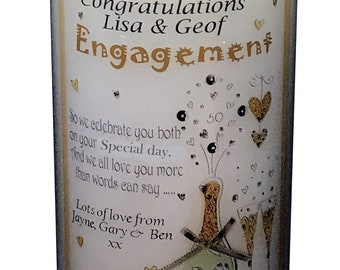 """Engagement Candle Card  personalised gift  Large 6""""  To the happy couple  A card and a gift in one!"""