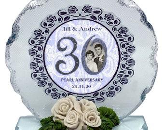 30th Pearl Wedding Anniversary Personalised Gift  Photo Cut Glass  Plaque keepsake