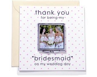 Bridesmaid Wedding Thank you Personalised Gift Compact Mirror keepsake