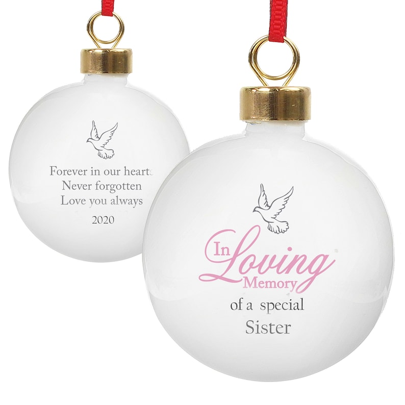 Sister Memorial Christmas tree bauble tree Pink Dove image 0