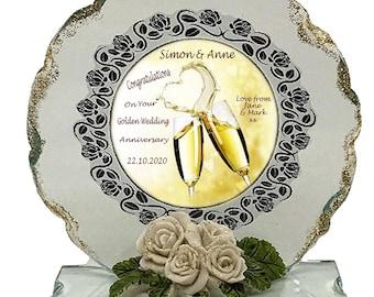 50th Golden Wedding Anniversary Personalised Gift  Cut Glass  Plaque keepsake