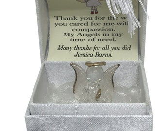 Thank You for caring for me Crystal Glass Angel box personalised gift for nurse, carer