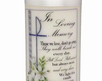 Memorial candle in loving memory of those who cannot be with you for any occasion, wedding, Christening, funeral, Anniversary