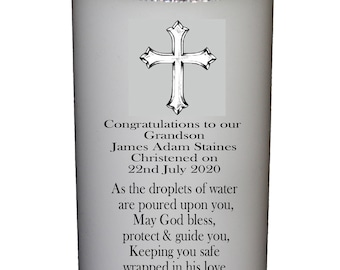 """Grandson Christening  Candle  personalised gift Large 6"""" Cross Design"""