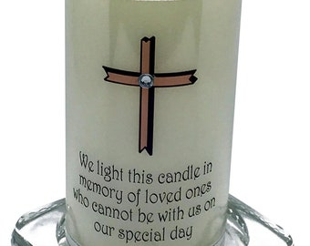 Wedding Absence Candle Pink Cross design in loving memory  of loved ones unable to be with you