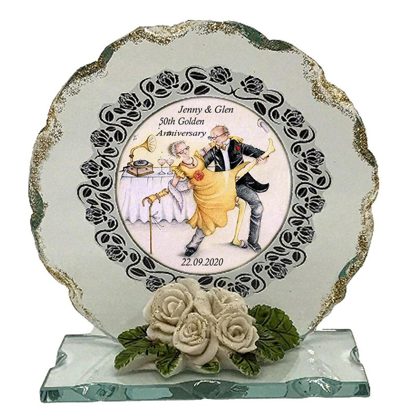 50th Golden Wedding Anniversary Personalised Gift  Cut Glass image 0