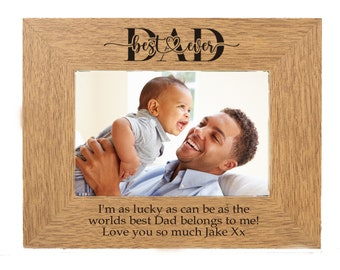 World's best Dad Personalised Gift Engraved Oak  engraved photo frame  for 6 x 4 photo Father of Bride, fathers day or other occasion