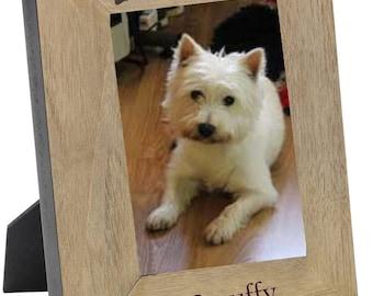 "Dog Photo Frame Engraved Personalised gift with dogs name Oak finish 6 x 4"""