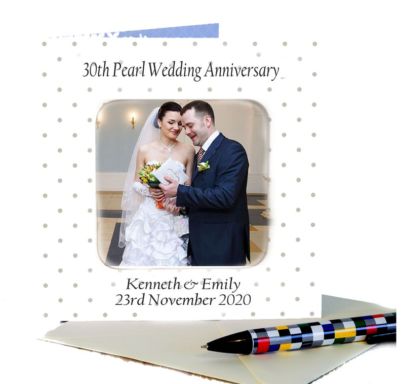 30th Pearl Wedding Anniversary Personalised Photo Card with image 0