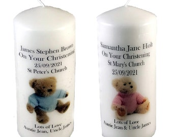 Christening Candle personalised gift Baby Boy or Baby Girl Pink or Blue Teddy Unique handmade item