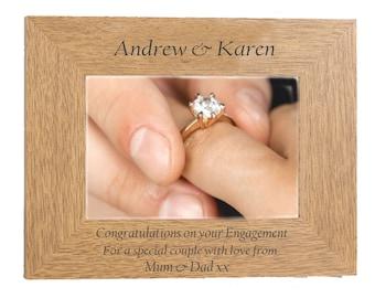Engagement Personalised Gift beautiful  Oak Finish engraved photo frame landscape for 6 x 4 photo