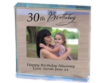 Mummy Birthday personalised gift glass paperweight keepsake with photo keepsake