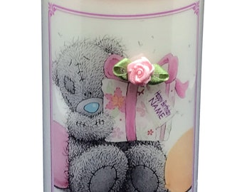 """Personalised Birthday Candle gift Pink Teddy 6"""" inch candle will be personalised  with any short message."""