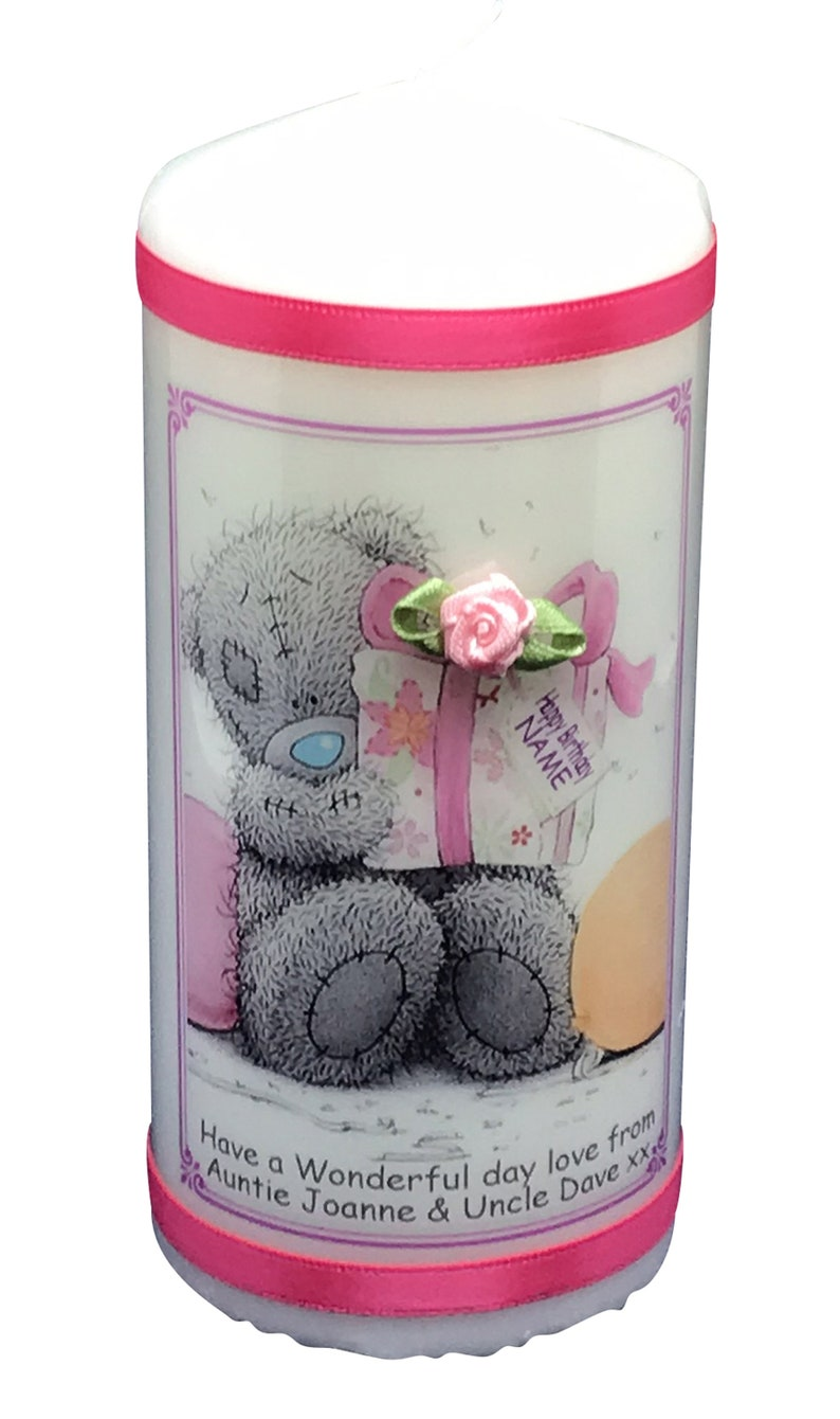 Personalised Birthday Candle gift Pink Teddy 6 inch image 0