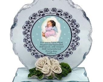 Baby Girl Still Birth Born Sleeping Memorial Cut Glass Plaque keepsake with beautiful Still Born  poem personalised if required