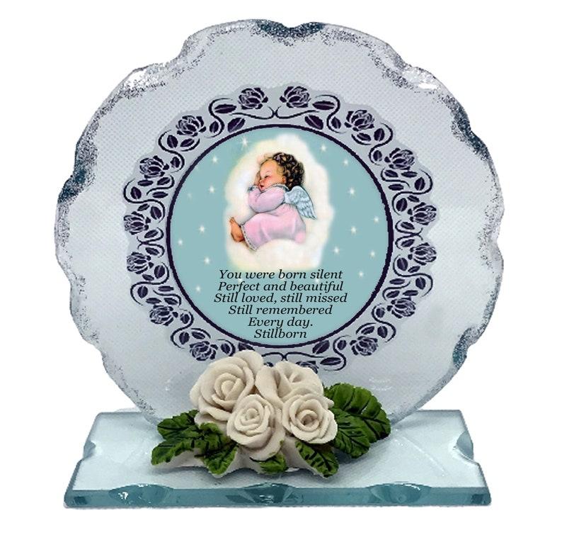 Baby Girl Still Birth Born Sleeping Memorial Cut Glass Plaque image 0