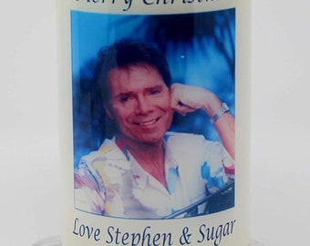 Cliff Richard Christmas Candle Card personalised gift by Cellini Candles