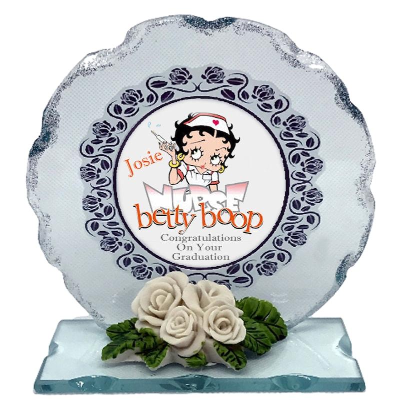 Nurse Graduation Personalised Gift Betty Boop Cut Glass Poem image 0