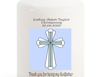 Thank you for being my Godfather  Christening Candle personalised gift Blue  cross