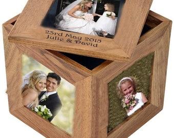 Bridesmaid Wedding favour Thank you personalised Gift Oak Photo keepsake Trinket Box