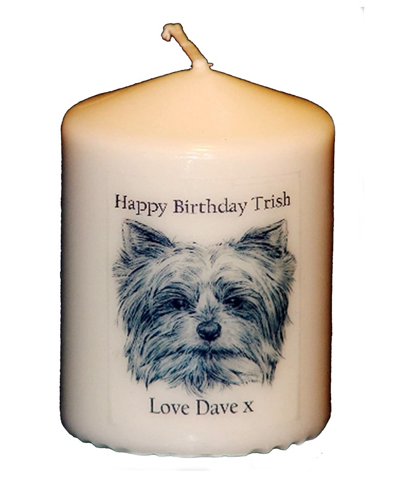 Yorkshire Terrier Dog personalised gift candle card ANY image 1