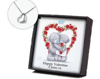 Valentine or Any Occasion Birthday, Anniversary, Christmas  Heart Necklace Personalised gift box