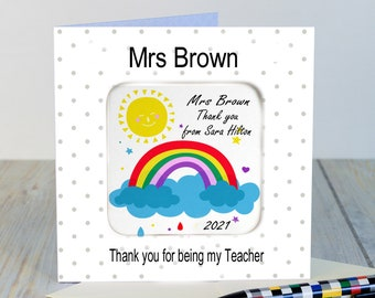 Teacher thank you Card Personalised Gift with detachable PHOTO Coaster