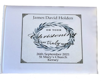 White Christening Guest Book personalised gift Baby Girl or Baby Boy Unique keepsake present